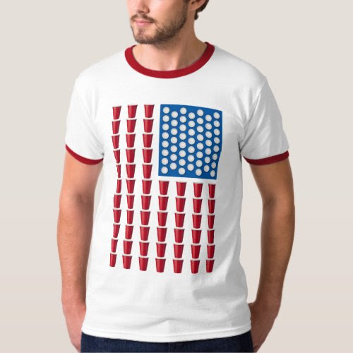 Beer Pong Drinking Game Red Solo Cup American Flag Ringer T-Shirt
