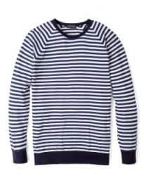 John Smedley Navy White Mid Stripe Dominic Crew Knit