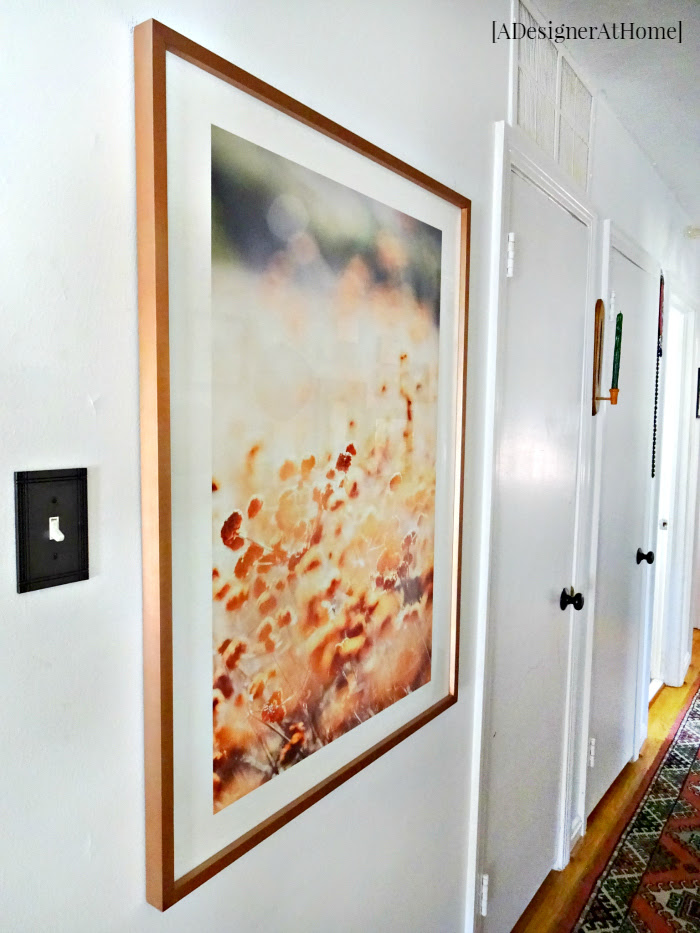 this hallway has no natural light so a large framed outdoor print adds the outdoor feel to a very indoor space