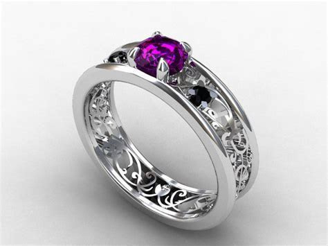 amethyst ring, filigree, engagement ring, black Diamond