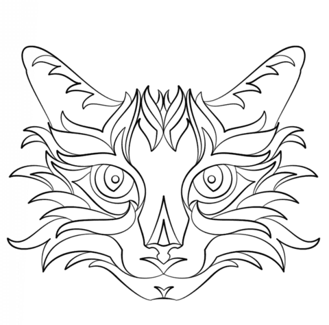 Dibujo De Gato Abstracto Para Colorear Dibujos Para Colorear