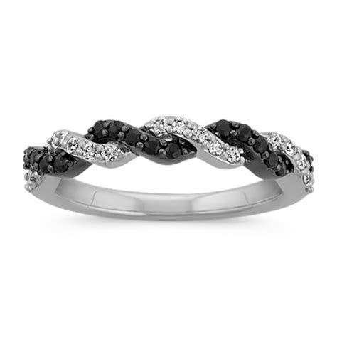 Round Black Sapphire and Round Diamond Braided Twist