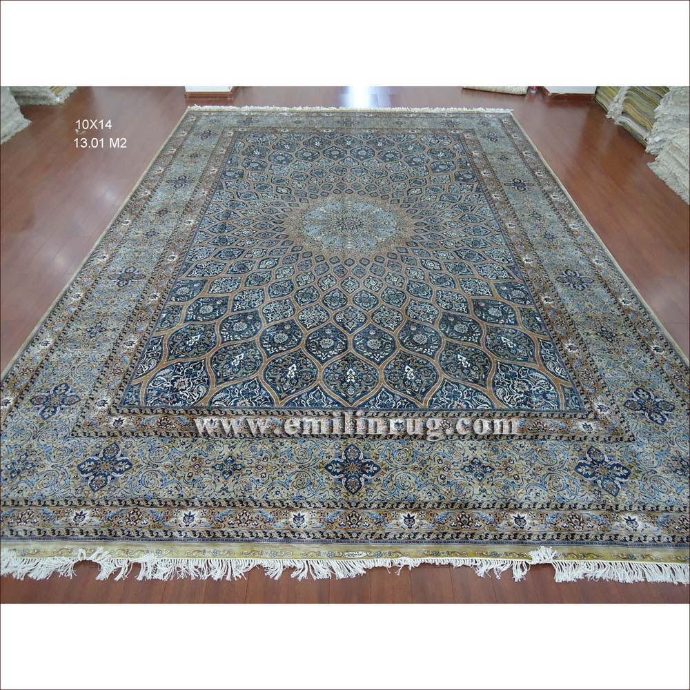 1 10 X 14 Blue Large Hand Knotted Handmade Pure Silk Living Room Persian Area Rugs Lz1014ad B1 Emilin Rug