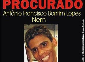 Cartaz do Disque-Denúncia do Rio, que oferece R$ 5.000 pela captura de Antonio Francisco Bonfim Lopes, o Nem