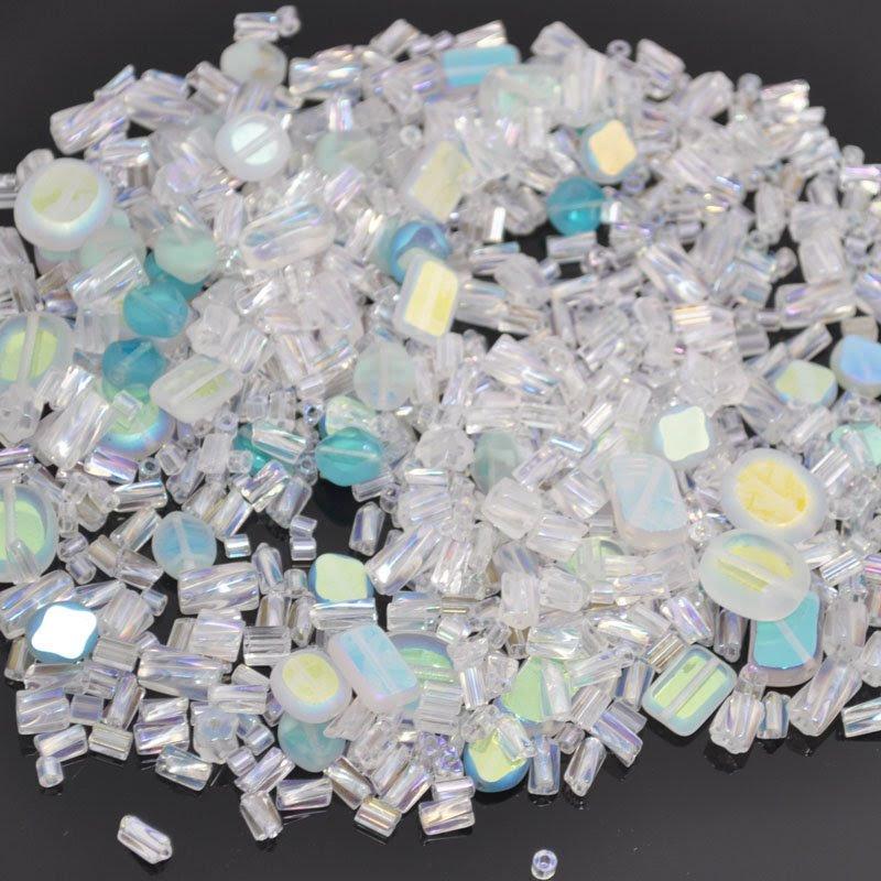 s39859 Bead Mix -  Pressed Glass Mix - Slice of Ice (100 grams)