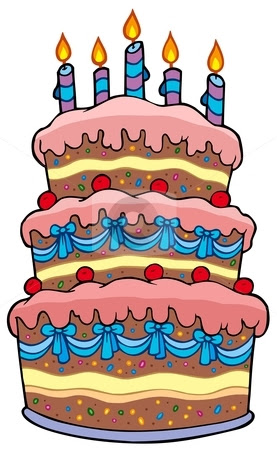 Cartoon Birthday Cake On Big With Candles Stock Vector Clipart