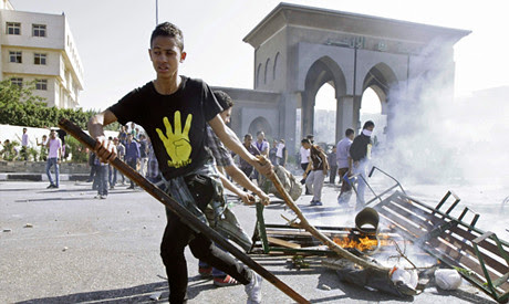 Egypt student rebellion at Al-Azhar University against the ongoing rule by the military. The incident took place on  October 20, 2013. by Pan-African News Wire File Photos