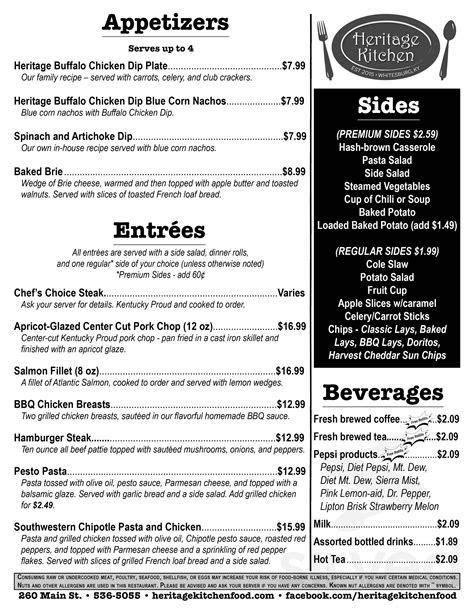 Heritage Kitchen menu in Whitesburg, Kentucky, USA
