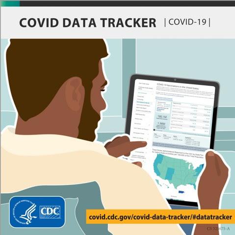 Illustration of man looking at COVID DataTracker on tablet