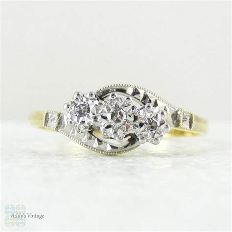 Art Deco Trilogy Diamond Engagement Ring, Twist Design