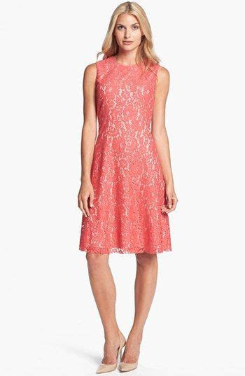 coral lace dresses for weddings   Eliza J Lace Fit & Flare