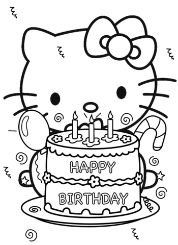 Happy Birthday Hello Kitty Coloring Page Free Printable Coloring Pages