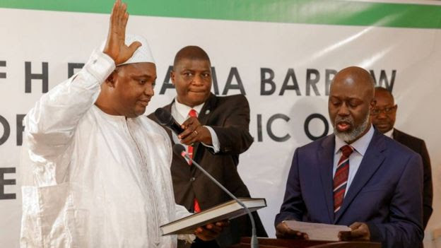 Swearing-in ceremony at inauguration of Gambia President Adama Barrow at the Gambian embassy in Dakar, Senegal January 19, 2017