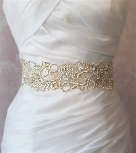 Champagne Gold Lace Bridal Sash, Wedding Gown Sash, Beaded