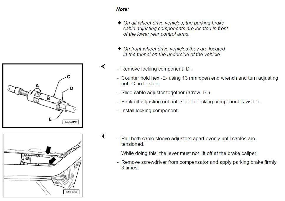 Audi Q7 Handbrake Cable Adjustment