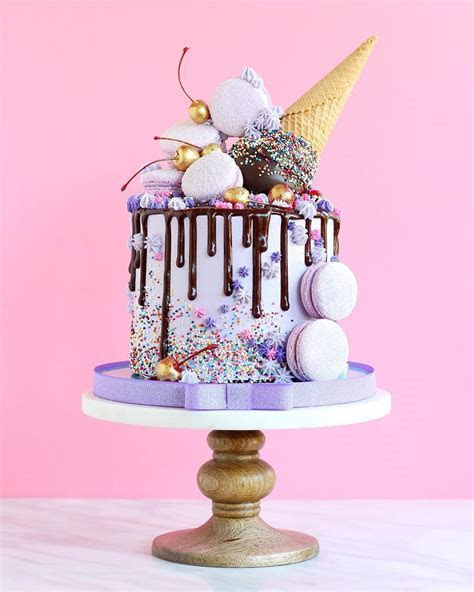 Jonathan Caleb   Violet Layer Cake Chocolate Drip Macarons