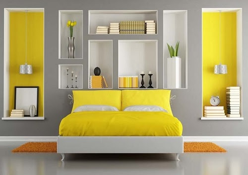 Grey and Yellow color scheme bedroom design