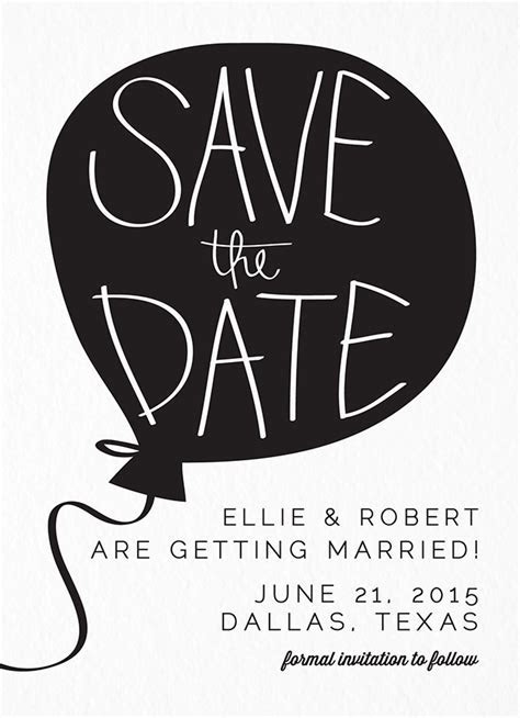 Balloon Save The Date by Green Tie Studio   Postable