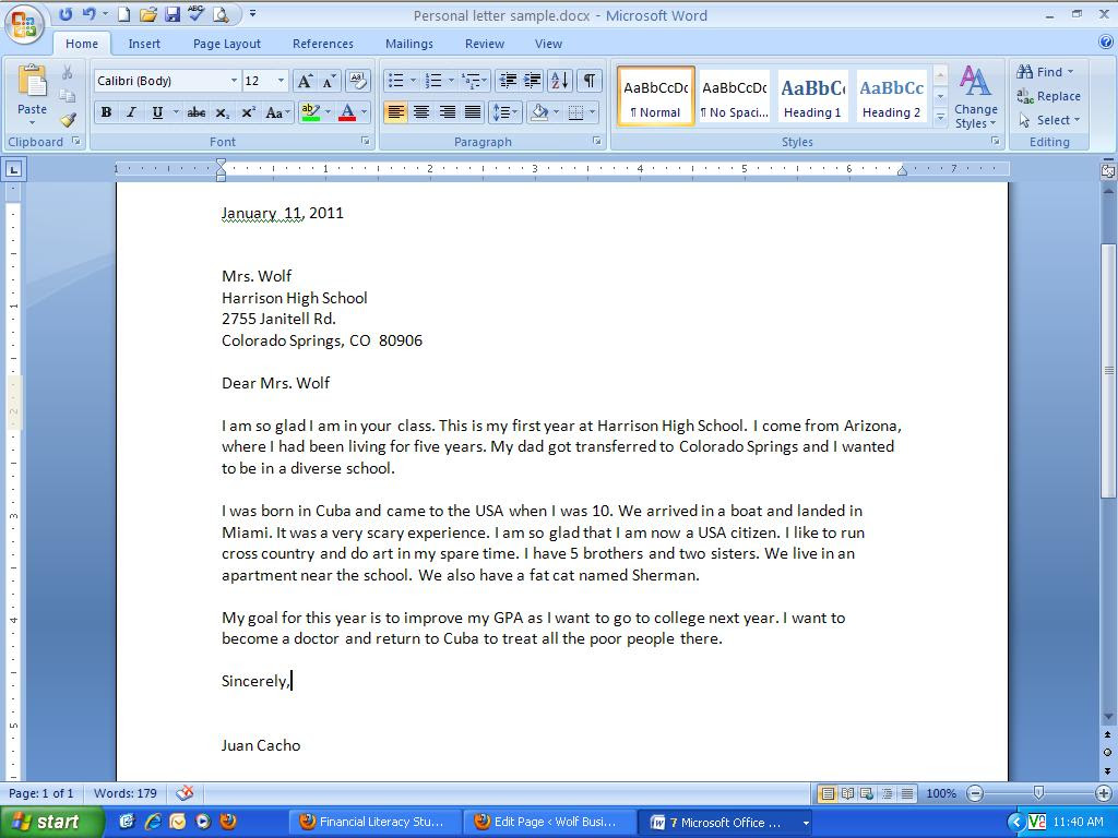 Sample Business Letter Introducing Yourself