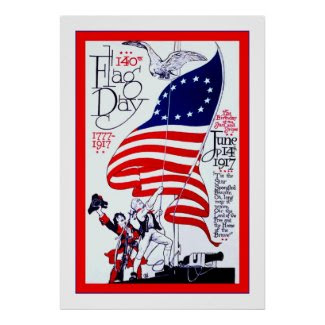 140th Flag Day ~ Vintage Advertising Poster