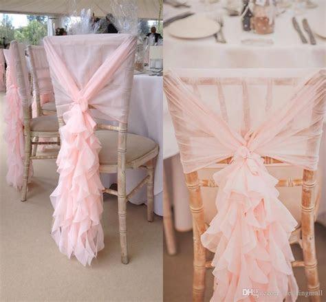 2019 2017 Blush Pink Chair Sashes Chiffon Ruffles Chair