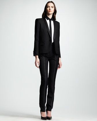 Saint Laurent Studded Gabardine Tuxedo Jacket