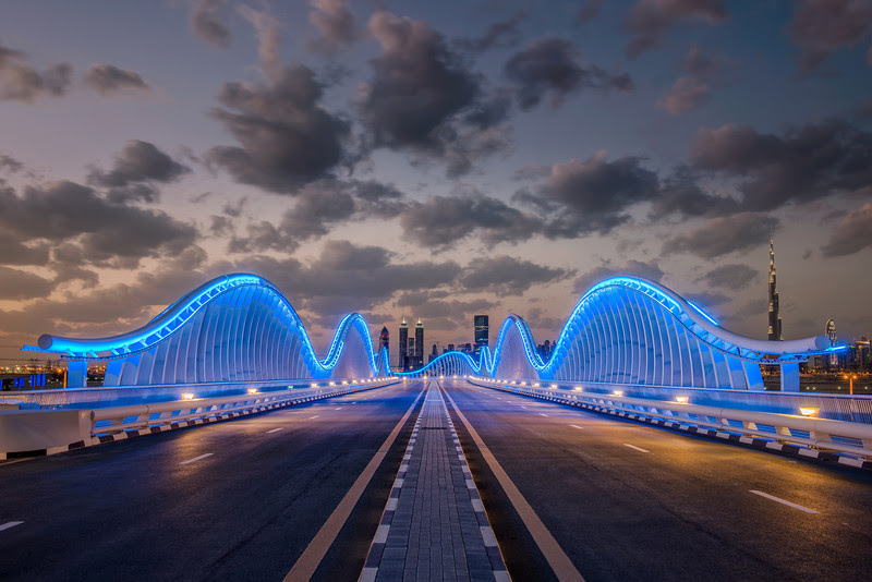 Meydan bridge at dusk, Dubai