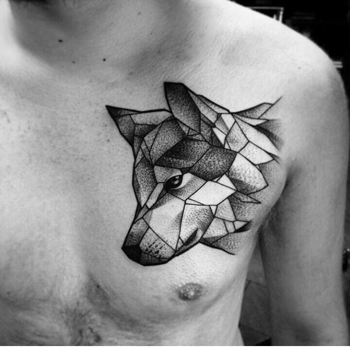 Abstract Wolf Head Tattoo Design