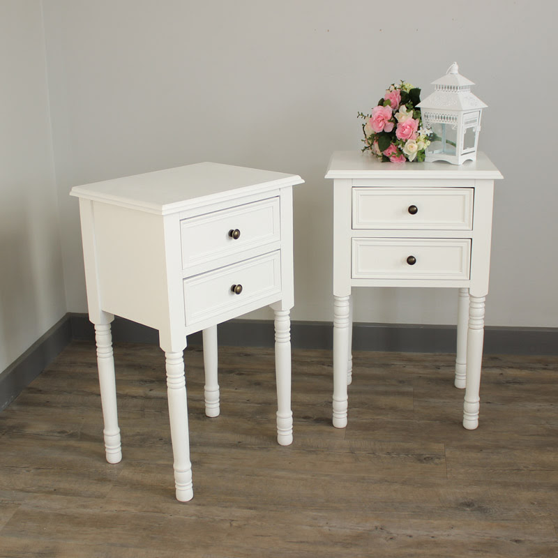 white french style wooden vintage home bedroom bedside ...