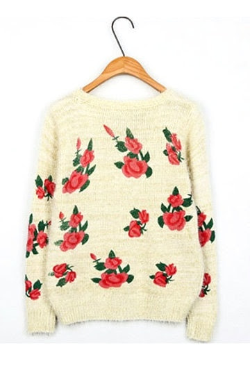 Charming Flower Print Long-Sleeved Sweater
