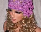 40% off PRE SEASON SALE Crochet Women Teens Orchid Orchid Metallic Ribbon Rhinestone Crocodile Stitch Cloche Hat Beanie