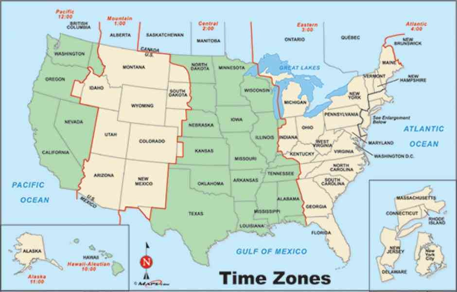 Usa Time Zone Map With States - CLAUDETEMAKI