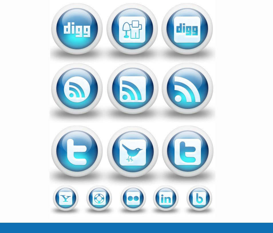 3D Glossy Blue Color Social Media Bookmarking Icons