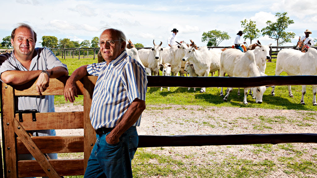 Dupla afinada: Paulo Leonel (à esq) e seu pai Adir utilizam os serviços da Central Bela Vista. Os touros alojados produzem 70 mil doses de sêmen por ano, vendidas no Brasil e no exterior