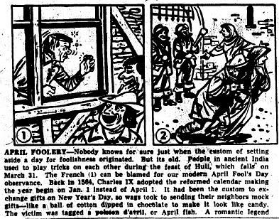 April Fool's 1950's newspaper columns