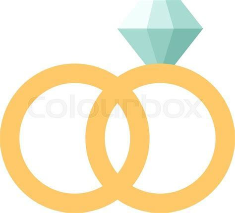 Vector wedding rings icon flat design.     Stock Vector