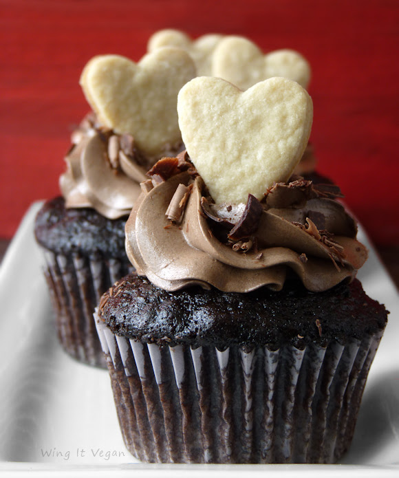 Valentine's Day Chocolate Cupcakes with Cookie Toppers
