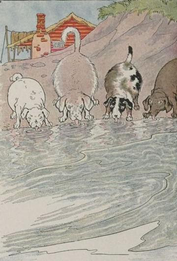 An illustration for the story The Dogs And The Hides by the author Aesop