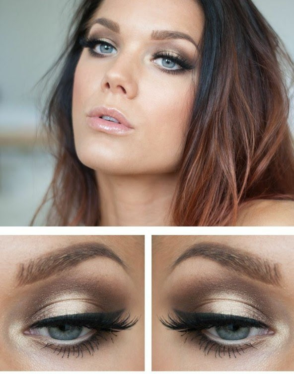 blaue augen braune haare lippenstift