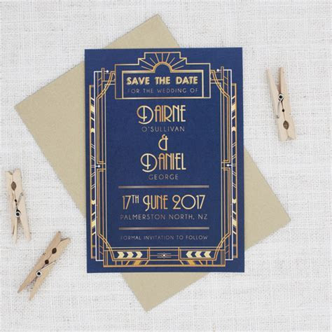 Gold and Navy Blue Art Deco Save the Date   Be My Guest