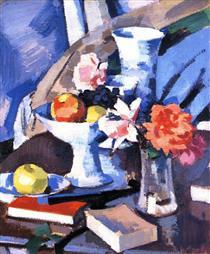 Still Life, Roses and Book - Samuel Peploe