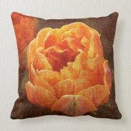 Orange tulip toss pillow throwpillow