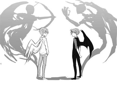angels  demons au  silentseven  deviantart manga
