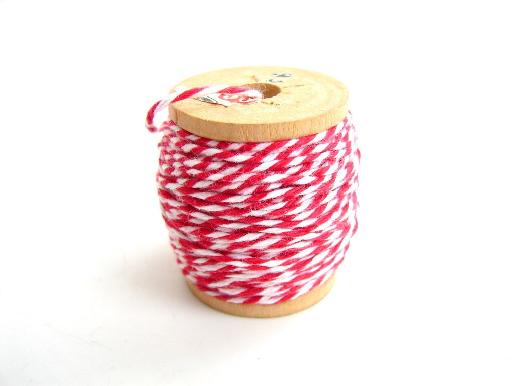 """Red and White Bakers Twine, """"Red Hot Red"""" (10 yards) on Vintage Spool - Gift Wrapping, Crafts, and more"""