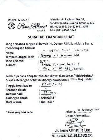 Contoh Surat Keterangan Sehat Dari Dokter - Lina Pdf