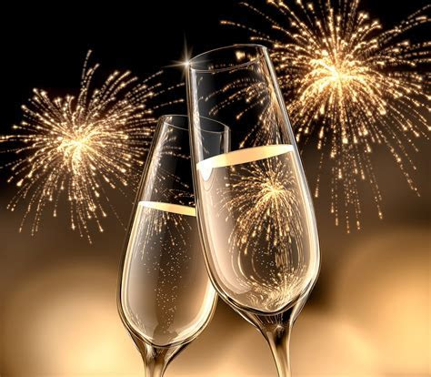 Wallpaper New year Fireworks Two Champagne Food Stemware