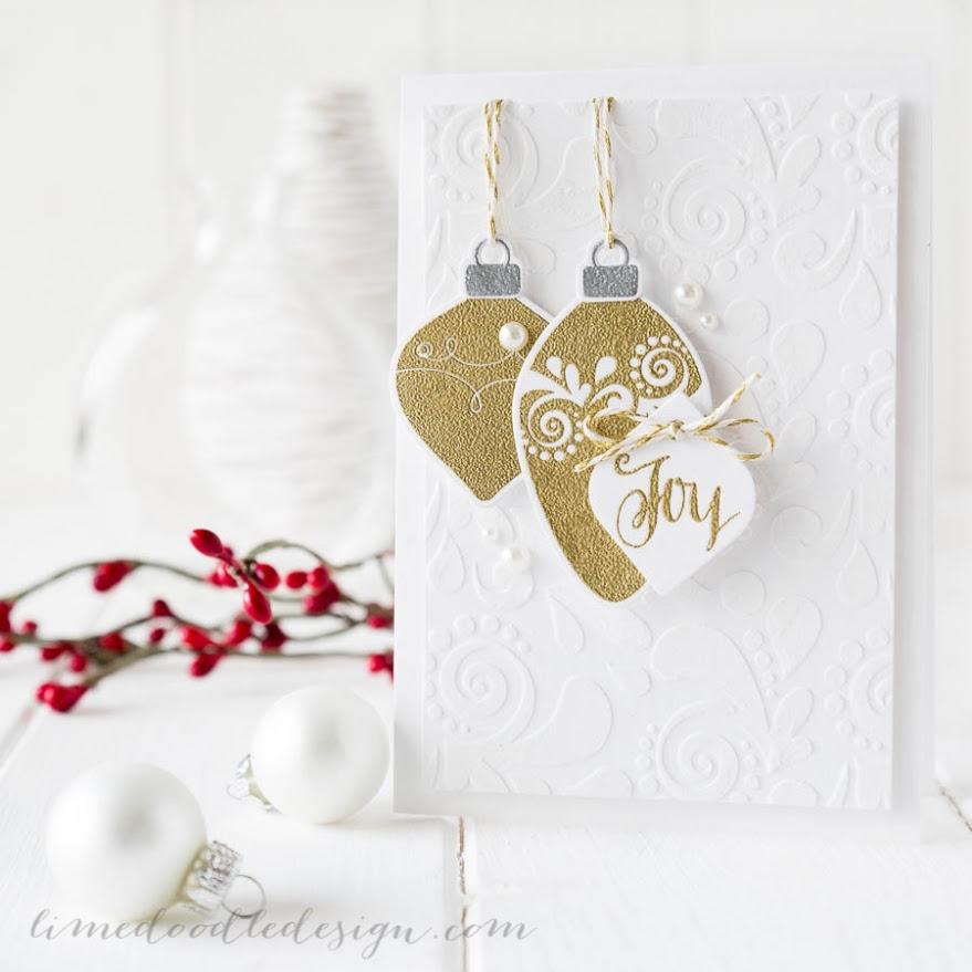 Debby Hughes - Lime Doodle Design - CASE Study - Simon Says Stamp STAMPtember - Christmas, card, ornaments, gold, joy