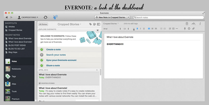 Evernote Dashboard RS