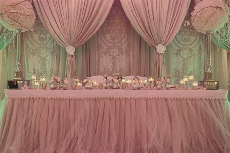 Draped backdrop. Dusty rose, light pink wedding decor. #