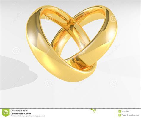 Heart Gold wedding rings stock illustration. Illustration